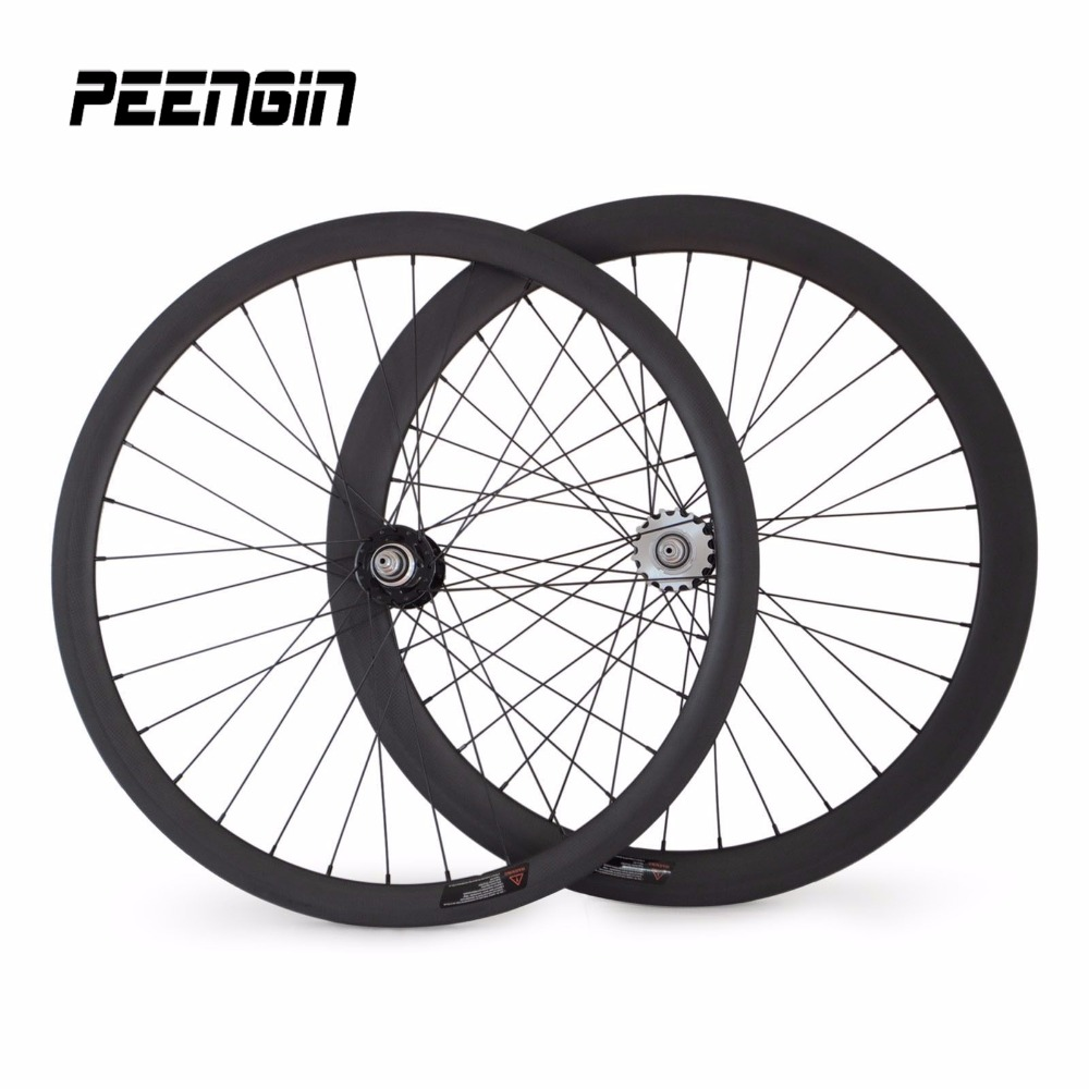 Carbon mixed track Bike Clincher single speed rims wheelset front 38mm rear 50x25mm size Fixed Gear Wheel 700C OEM cycling part new 7075 48t single speed fixed gear fixie bike crankset cycling road track bicycle crank set chain wheel