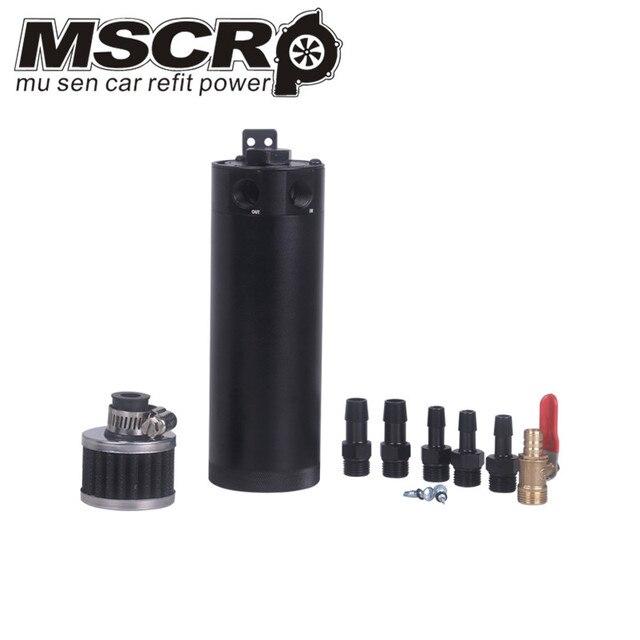 Universal Billet อลูมิเนียม Baffled 2 พอร์ตจับน้ำมันสามารถถัง Breather Filter เครื่องยนต์ Mini น้ำมันแยก
