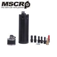 Universale Alluminio Billet Sconcertato 2 port Oil Catch Can Serbatoio con Filtro Sfiato Motore Mini Separatore Olio