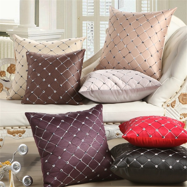 Artificial Leather Shiny Embroidery Checked Square Pillow Case Decorative Sofa Seat Car Throw Cushion Covering Black