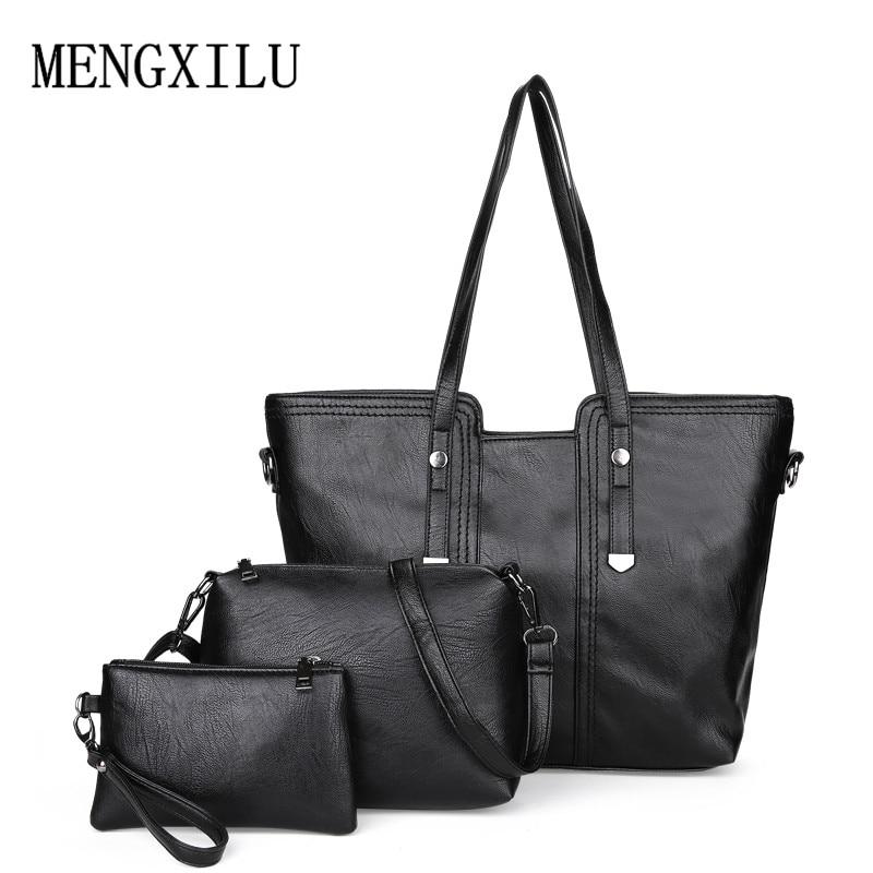 Luxury 3Pcs / Set naiste käekott crossbody kotid pu nahast naiste - Käekotid - Foto 3