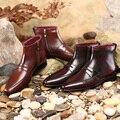 TERSE_Fashion invierno botas de cuero genuino hecha a mano de lujo zapatos de cierre de cremallera en el café/borgoña cosido goodyear OEM ODM