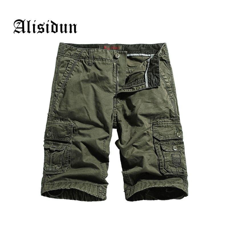 2018 New Cargo Shorts Men Pure Cotton Short Pants Mens Casual Shorts Male Loose Work Multi Pocket Trouser Plus Size 29-40 F3230