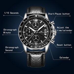 Image 3 - MEGALITH 男性スポーツクロノグラフウォッチ腕時計防水日付カレンダークォーツ時計メンズファッションカジュアルレザーストラップ Wirst 腕時計メンズ