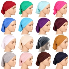 LARRIVED 2019 New Muslim Head scarf Women Hijab Caps Hat Cap Cotton Under Scarf Bone Bonnet Neck Cover