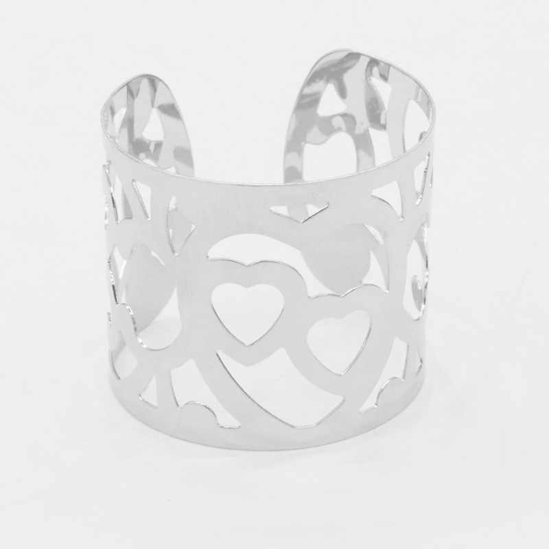 6 Kinds Figures Rose Flower Leaf Heart Wide Opening Golden Silver Metallic Titanium Steel Bracelets & Bangles for Women