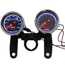 Newest 12V 0-180km/h Universal Chrome Motorcycle LED Backlight Odometer & Tachometer Speedometer Gauge With Bracket