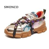 SWONCO Women's Vulcanize Shoes 2018 Spring Summer Genuine Leather Fashion Rhinestone Girl Sneaker Women Shoes Flat Platform Shoe