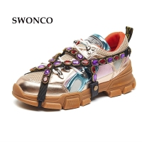 SWONCO Women's Vulcanize Shoes 2018 Spring Summer Genuine Leather Fashion Rhinestone Girl Sneaker Women Shoes Flat Platform Shoe