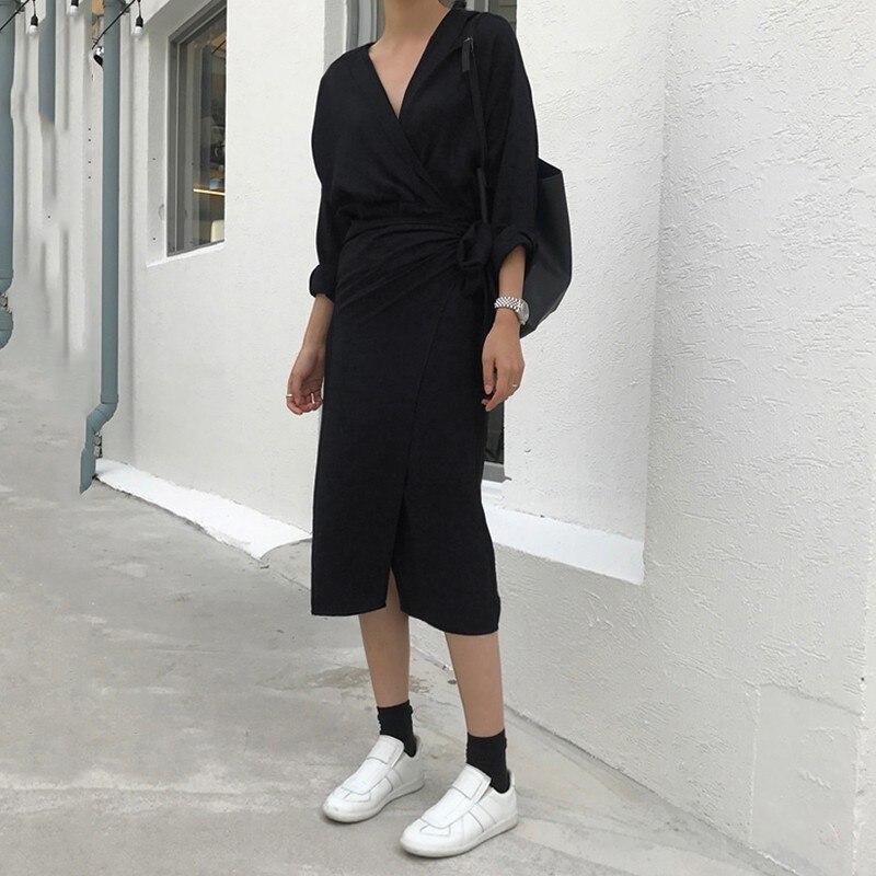 CHICEVER Bow Bandage Dresses For Women V Neck Long Sleeve High Waist Women's Dress Female Elegant Fashion Clothing New 2020 1