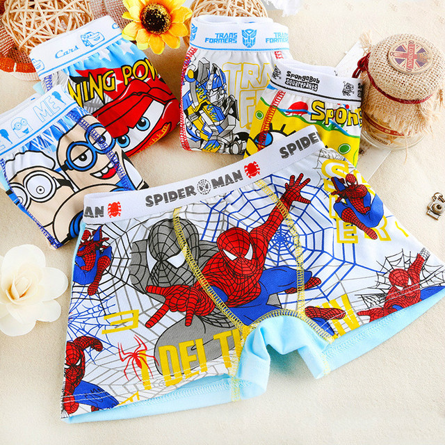 2016 cartoon printing children kids short briefs boys panties boys boxer boy brief boys underwear spiderman - Printing With Children