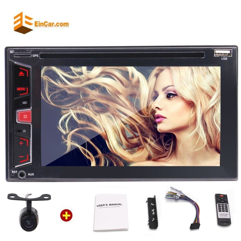 Rear Camera+Eincar 6.2'' Double Din Car Stereo Bluetooth In Dash Car DVD/CD Player Head Unit FM/AM RDS Radio HD Audio Subwoofer joyous j 2611mx 7 touch screen double din car dvd player w gps ipod bluetooth fm am radio rds