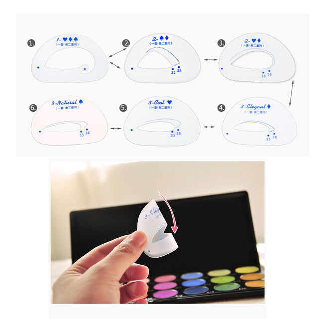 Eyeshadow Stencil 6pcs/set Cosmetic Groom Steps Model Easy Quick Make Up Shaping Guide DIY Beauty Tool Eyes Makeup Template Card 3