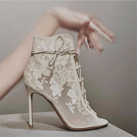 New Design Women Elegant Open Toe Black White Mesh Short Boots Embroidery Lace Thin Heels Ankle Booties Wedding High Heel Boots