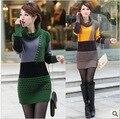 Прямой длинный участок нового 2013 зима существенно дна рубашки контрастного цвета свитер платье толщиной свитер