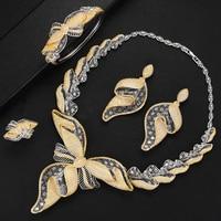 4PCS Women Wedding Jewelry Sets Hot Luxury Bowknot Flowers Cubic Zirconia Choker Necklace Earring Dubai Jewellery Sets