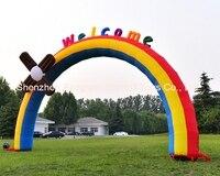 8 м (26 футов) надувные Ветряные мельницы Радуга Арки арки для детей День рождения с воздуха Воздуходувы