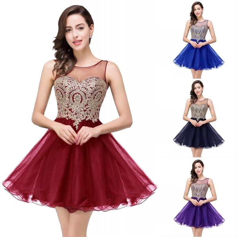 Elegant Burgundy Navy Blue Purple Tulle   Bridesmaid     Dresses   Short 2019 Sleeveless A line Wedding Party   Dress   Guest vestido