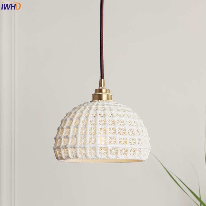 IWHD Japanese Nordic Style Modern Pendant Lights Fixtures Dinning Living Room White Ceramics Hanging Lamp Lamparas Vintage