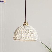 IWHD japoński styl skandynawski nowoczesne lampy wiszące oprawy jadalnia salon biała ceramika lampa wisząca Lamparas Vintage