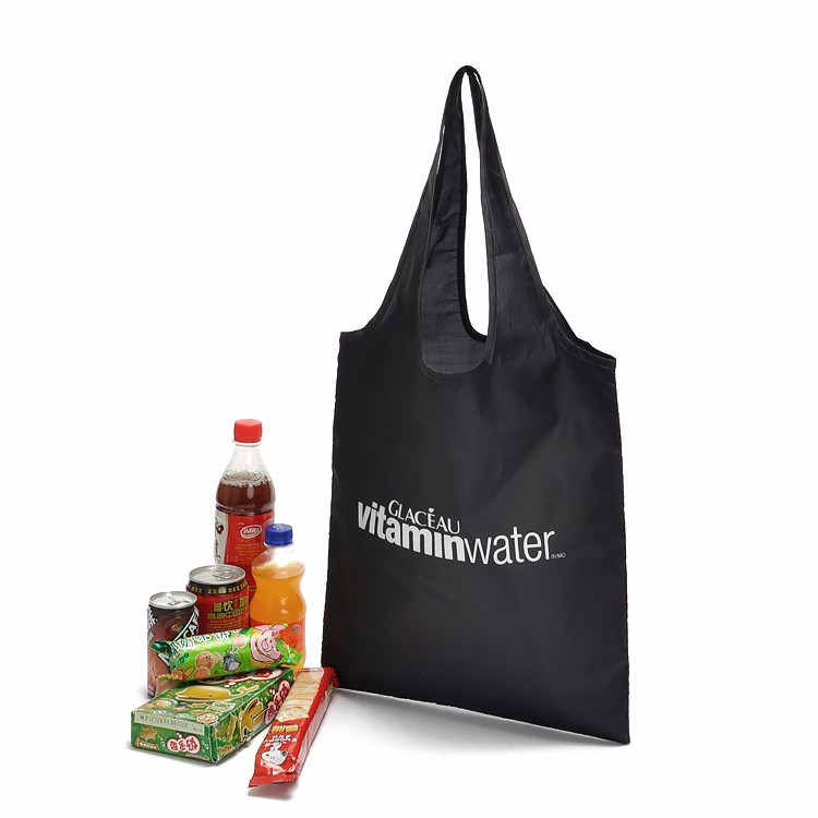 Custom Reusable Bags Nylon Black Grocery Totes Promotional Shopping Bags 13