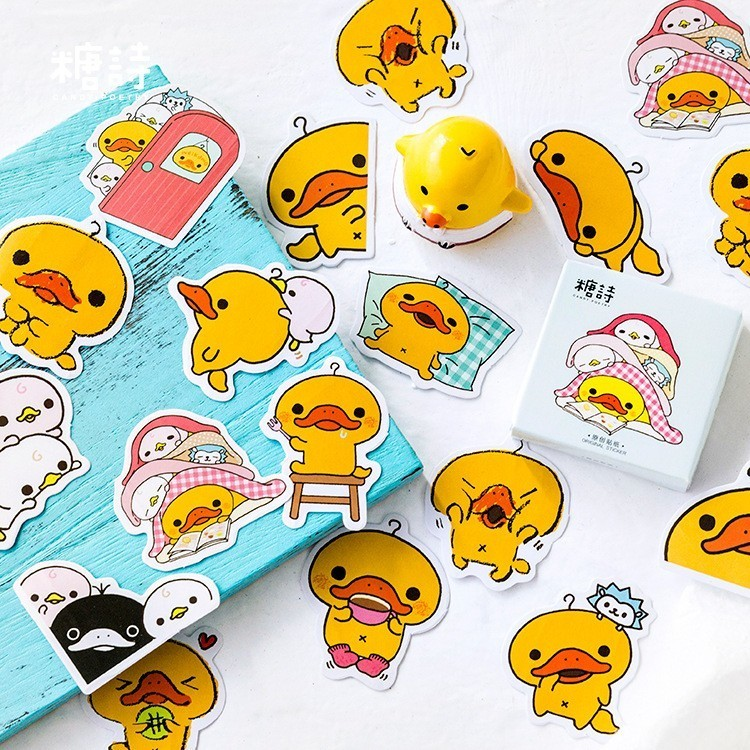 45PCS/box New Cute Refueling Duck Paper Lable Sealing Stickers Crafts Scrapbooking Decorative Lifelog DIY Stationery