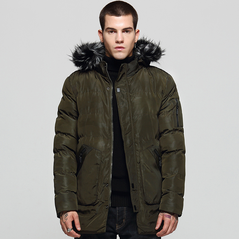 2018 New Winter Jacket Men Fashion Fur Collar Thick Warm Army Green Cotton Padded Coat Windproof Parka Male High quality
