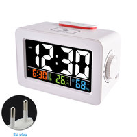 USB Alarm Clock Digital Bedside Weather Desk Electronic Temperature Humidity Wake Up Phone Charger Wireless Indoor Outdoor