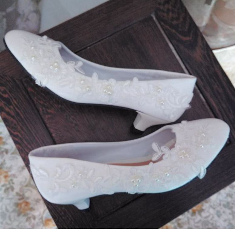 Lace pearls wedding shoes woman plus sizes low med high heel brides lady party proms dress shoes white lace bridal wedding shoe vintage lace panel high low dress