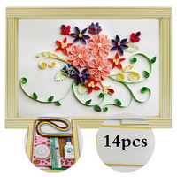 Paper Quilling Paper Assorted Multicolor Handcraft Origami DIY Home Decoration Pressure Relief Gift Manualidades Pink Flowers
