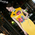 Yellow short-sleeved lace dress bride wedding toast wedding cheongsam evening dresses long section fishtail Formal Party dress