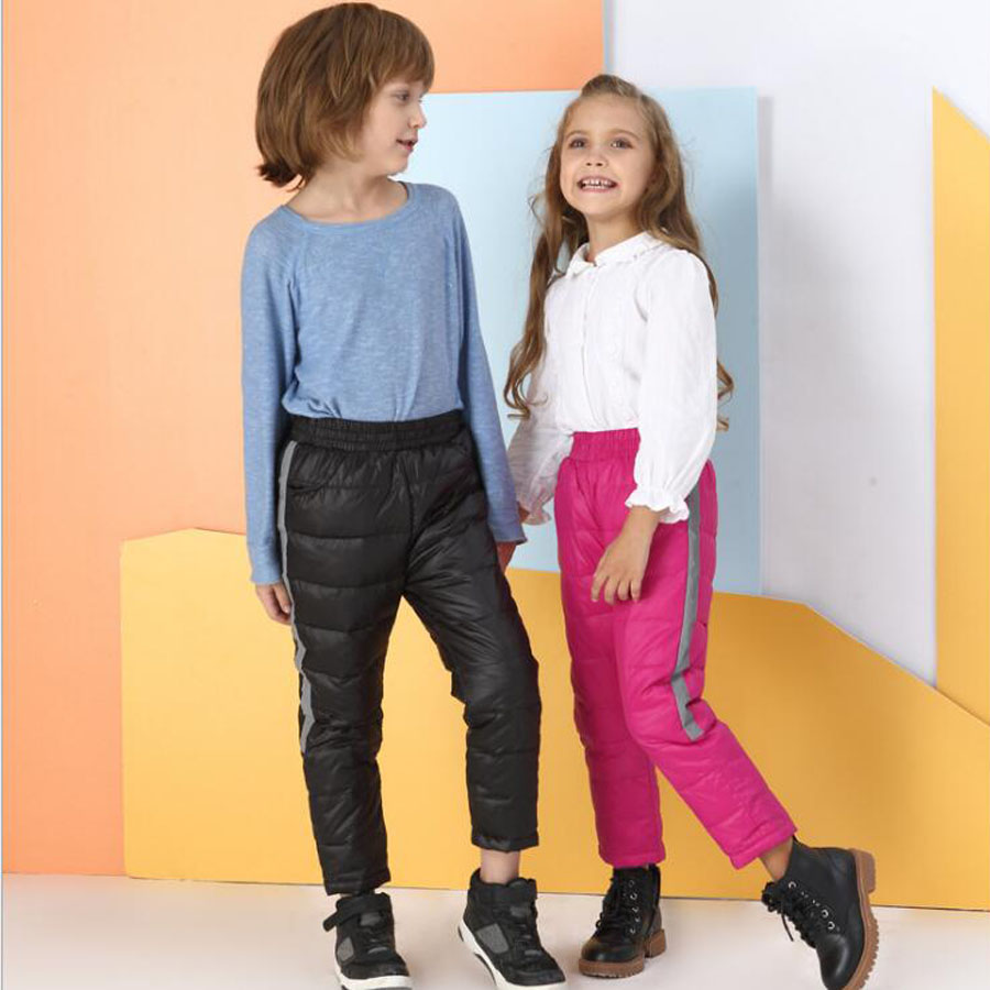New Winter Children's Clothing Down Pants Boys and Girls Leisure Sports Pants Children Down Cotton Warm 4 Color Winter Clothing baby children s clothing boys and girls set sweater autumn winter warm new fashion gold velvet leisure sports two piece a8888