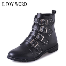 E TOY WORD booties woman ankle boots black Rivets PU Leather Buckle womens low heel Zapatos Mujer Ladies Shoes Size 43