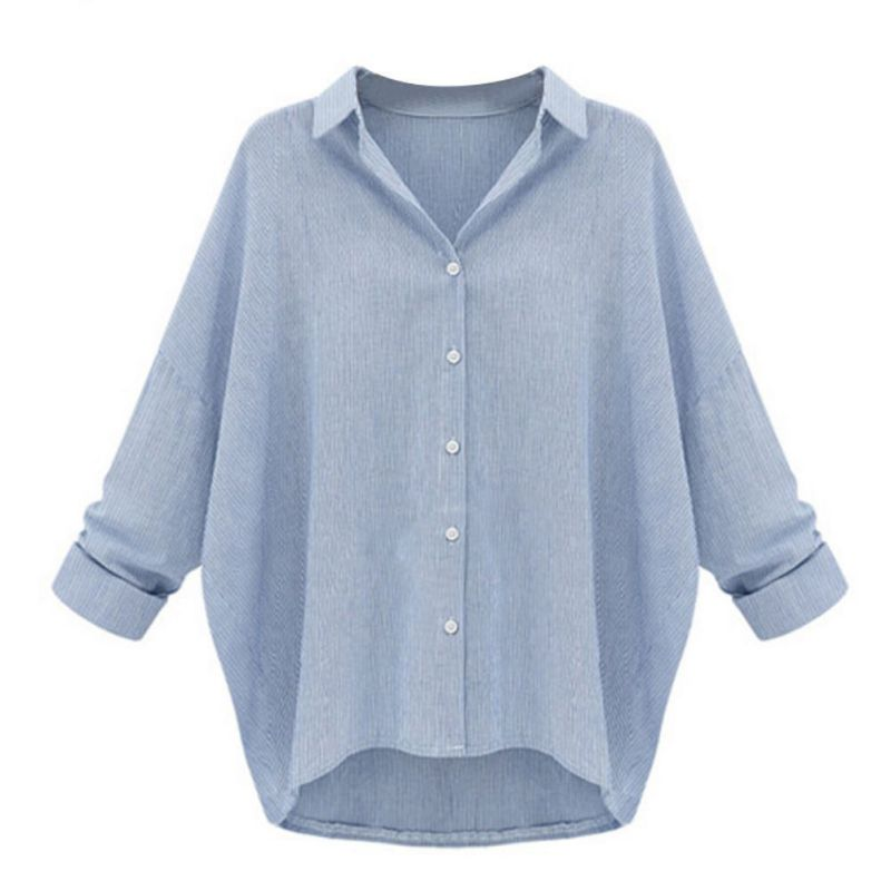 New Fashion Womens Loose Blouse Long Sleeve Casual Blouse Shirt Tops Plue Size ...