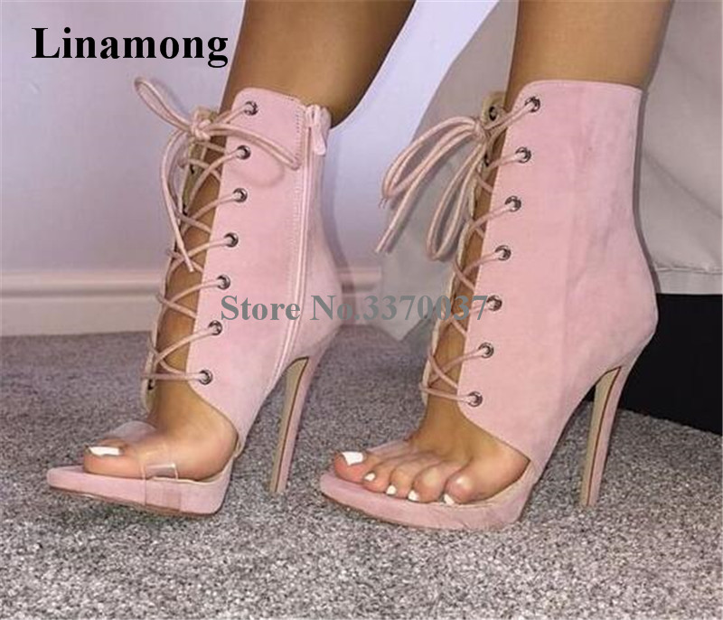 New Fashion Women Open Toe Pink Suede Leather Lace-up Short Gladiator Boots Cut-out One PVC Strap High Heel Ankle Booties цена 2017