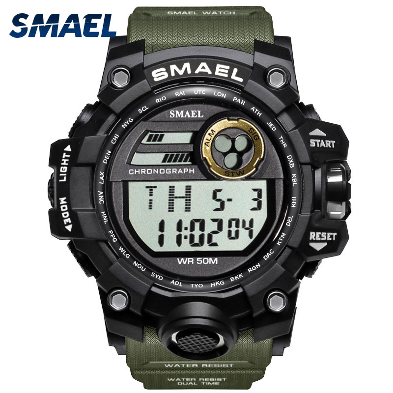SMAEL Brand Watch Men Military Sports Watches Fashion 5Bar Waterproof LED Digital Watch For Men Clock Man Relogio Masculino