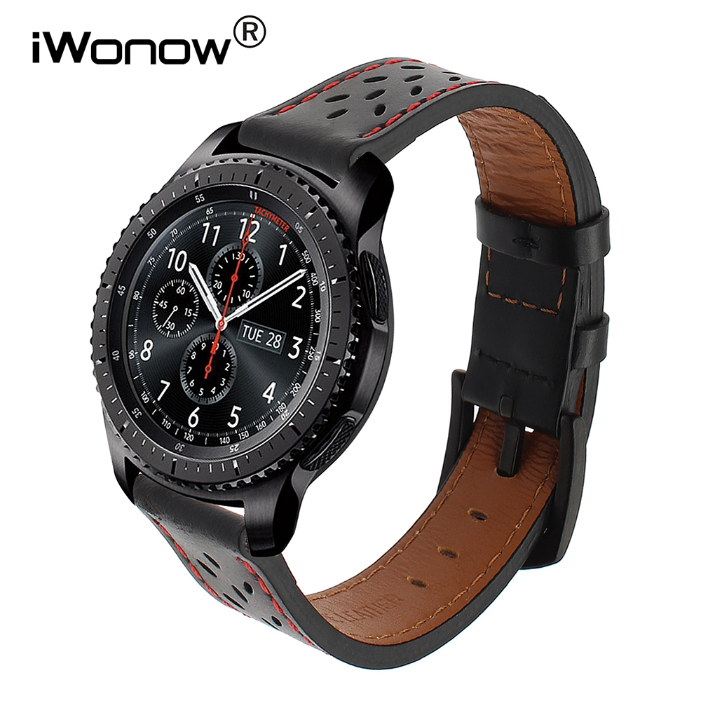 IWonow 22mm Genuine Leather Watchband For Samsung Gear S3 Galaxy Watch 46mm R800 Quick Release Band Steel Clasp Strap Wrist Belt