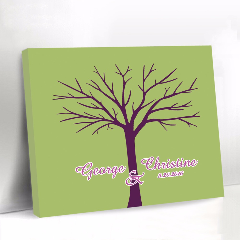 Green Wedding Guest Book Personalized Canvas Fingerprint Tree Guest Book Baby Shower Sign Book Party Decorations Wedding Present