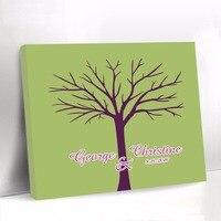 Livro De Convidados Do Casamento Personalizado Da Lona verde Da Árvore Da Impressão Digital Livro de Visitas Livro Sinal Do Chuveiro de Bebê Decorações Do Partido Presente De Casamento