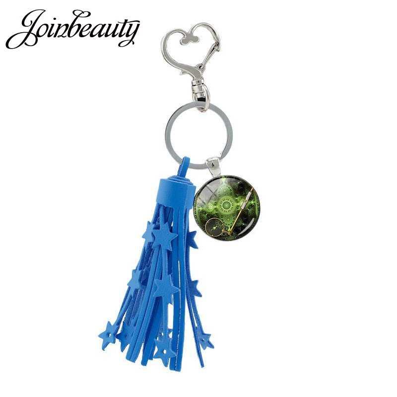 """JOINBEAUTY Steampunk מצפן תמונה ציצית לב אבזם דגלי ארה""""ב Keychain זכוכית קרושון דרום אפריקה מפת מפתח טבעת מחזיק T107"""