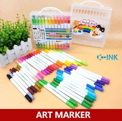 36 warna Seni Spidol, Dual Kepala Pena Cat Air, Spidol Stabilo Berwarna sebagai Perlengkapan Menggambar Siswa Sekolah