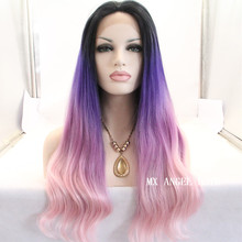 Stylish Ombre Three Tone Dark Root  To Purple Pink Wavy Synthetic Lace Front Wig Heat Resistant Hair Kanekalon Women Wigs.