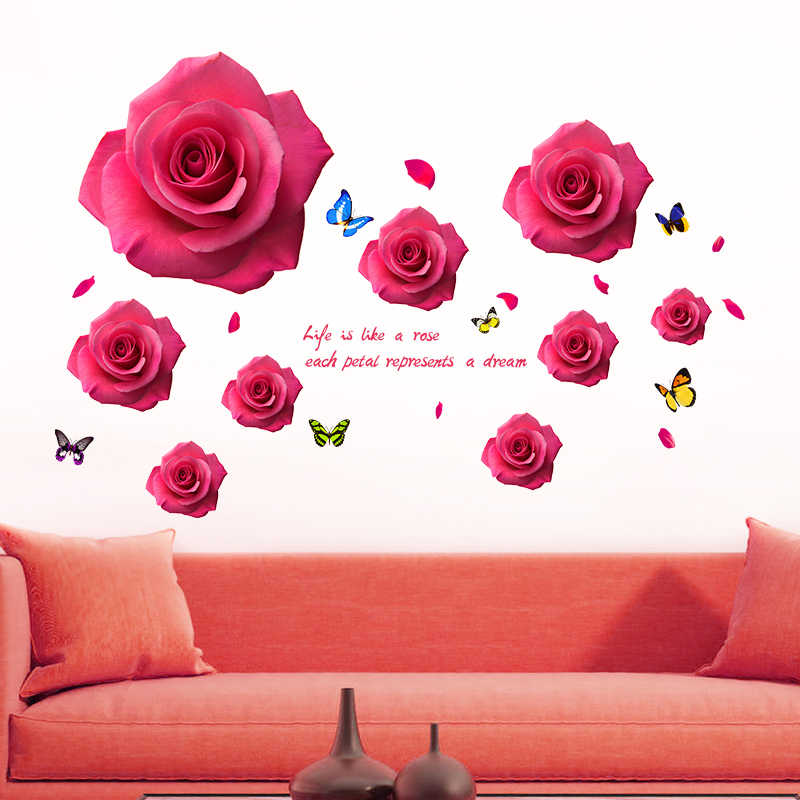 [shijuekongjian] Cartoon Little Angels Wall Stickers PVC DIY Red Roses Wall Decals for Living Room Wedding Room Decoration