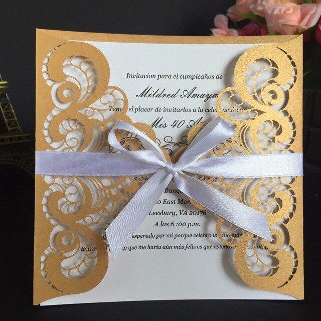 Leeft 10pc Laser Cut Wedding Invitations Cards Elegant Rsvp Cards