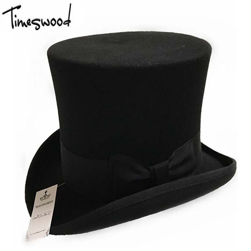 18cm Black Red Gray High Wool Top Hat <font><b>For</b></font> Men And Men Chapeau <font><b>Fedora</b></font> Magician Felt Vintage Party Church Hats S M L XL