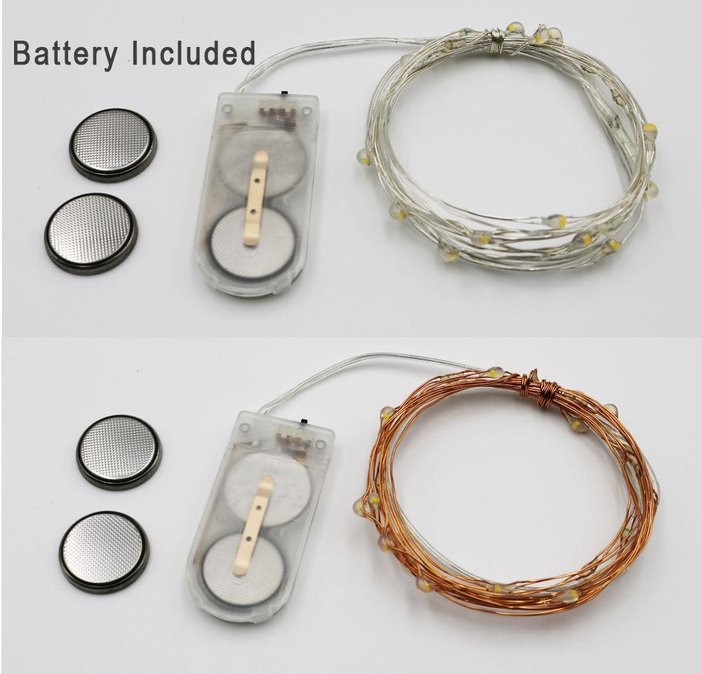 HarrisonTek 2M 20LEDs Fairy Lights батарея CR2032 Copper Wire - Мерекелік жарықтандыру - фото 5