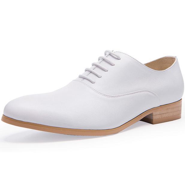New mens del cuoio genuino pattini di vestito bianco balck oxfords rotonde toe lace up scarpe da sposa di alta qualità business casual lavoro scarpe - 3