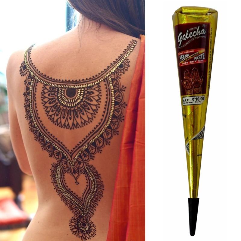Mehndi Black Henna Tattoo Paste Cone Temporary Flash Tattoo Body Art Henna Tatoo cream A6 1
