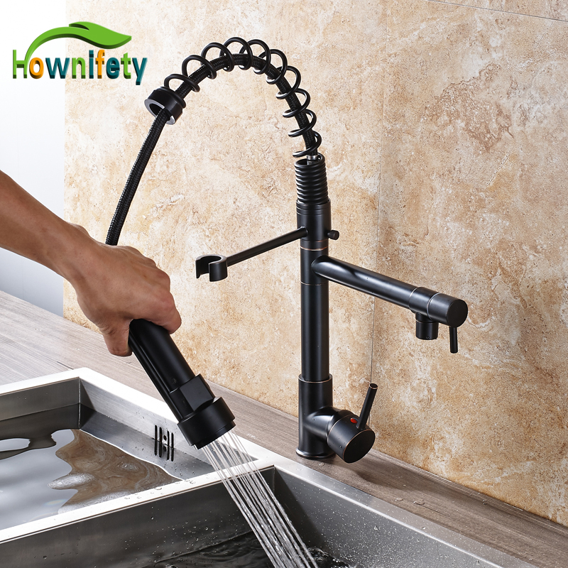 Solid Brass Kitchen Sink Faucet Single Handle Swivel Spout Pull Out Kitchen Mixer Tap Deck Mount chrome kitchen sink faucet solid brass spring two spouts deck mount kitchen mixer tap