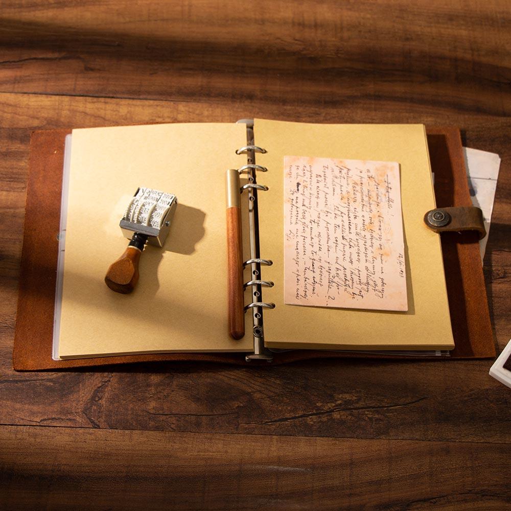 Image 4 - handmade Traveler's Note Book notebook brown Genuine Leather Cowhide leather diary vintage loose leaf planner Sketchbook-in Notebooks from Office & School Supplies
